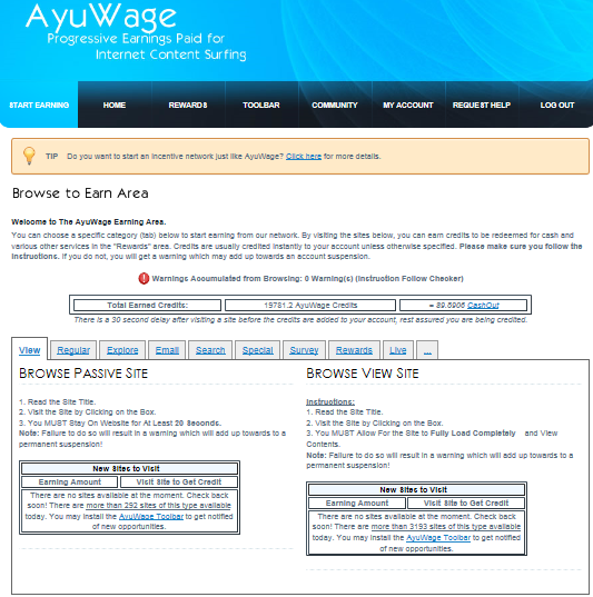 ayuwage start earning page